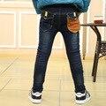 Мода Высокого Качества для Осенние детские Джинсы Большие Мальчики 7 ~ 12 лет Полная Длина Детская Одежда Промывают Джинсовые Брюки брюки