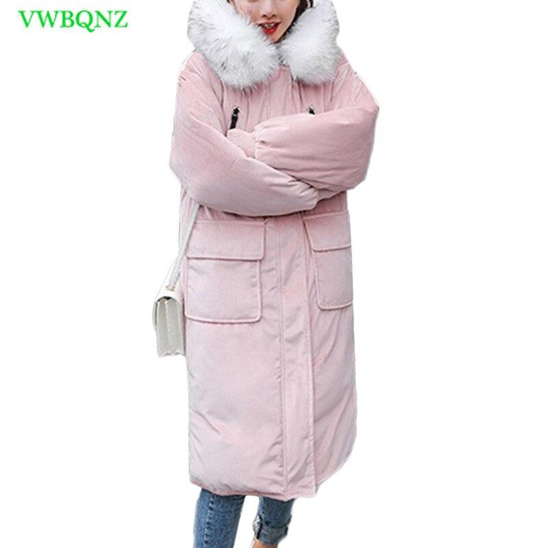 Or velours Coton Manteau Femelle Long Chaud Vers Le Bas coton Veste D'hiver Femmes Étudiant Coréen À Capuchon col De Fourrure Bf coton Vestes a866