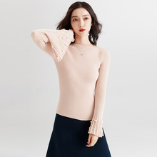 2018 autumn and winter new stylish sweater thicken flare sleeves slash neck bottoming for women F9581