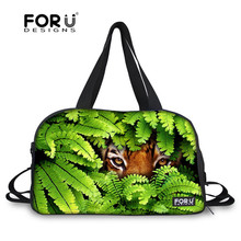 FORUDESIGNS Green Jungle Animal Nylon Gym Bag with Shoes Men Sport Handbag Athletic Training Bag Sport Fitness Exercise Bag
