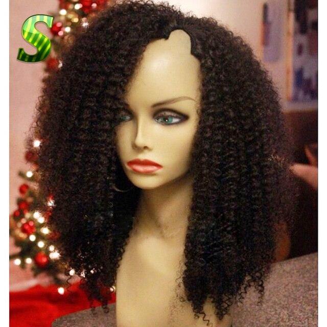 7A Brazilian Afro Kinky Curly U Part Wig Virgin Hair U Part Human Hair Wigs For Black Women Glueless U Part Wigs Free Shipping