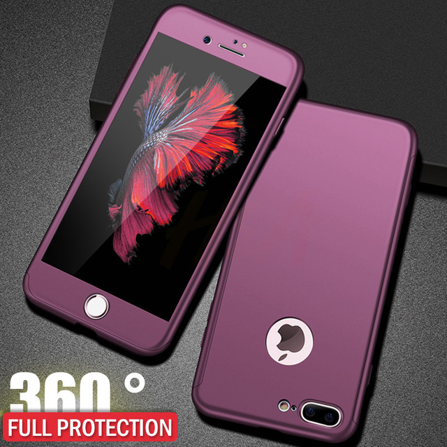 H&A Luxury 360 Protective Case For iPhone 7 6 6s Plus Full Hard PC Phone Case For iPhone 8 6 6s 7 Plus Cover With Tempered Glass 5