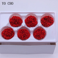YO CHO High Quality Dry Natural Fresh Preserved Carnation Flower Beauty And The Beast Eternal Rose Head Mother's Day Gift Flower