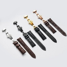 neway Genuine Leather Watch Band Wrist Strap 12 14 16 18 20 22 24mm Silver Butterfly Clasp Buckle Replacement Black Brown Belt