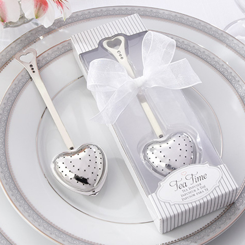 DHL Free shipping 100pcs wedding gift TeaTime Heart Tea Infuser Favor in Teatime Gift Box