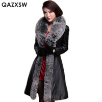 QAZXSW Plus Size Overcoat Leather Sheepskin Coat 2017 New Winter Women Fox Fur Collar Long Jacket Genuine Leather Jacket LH1276