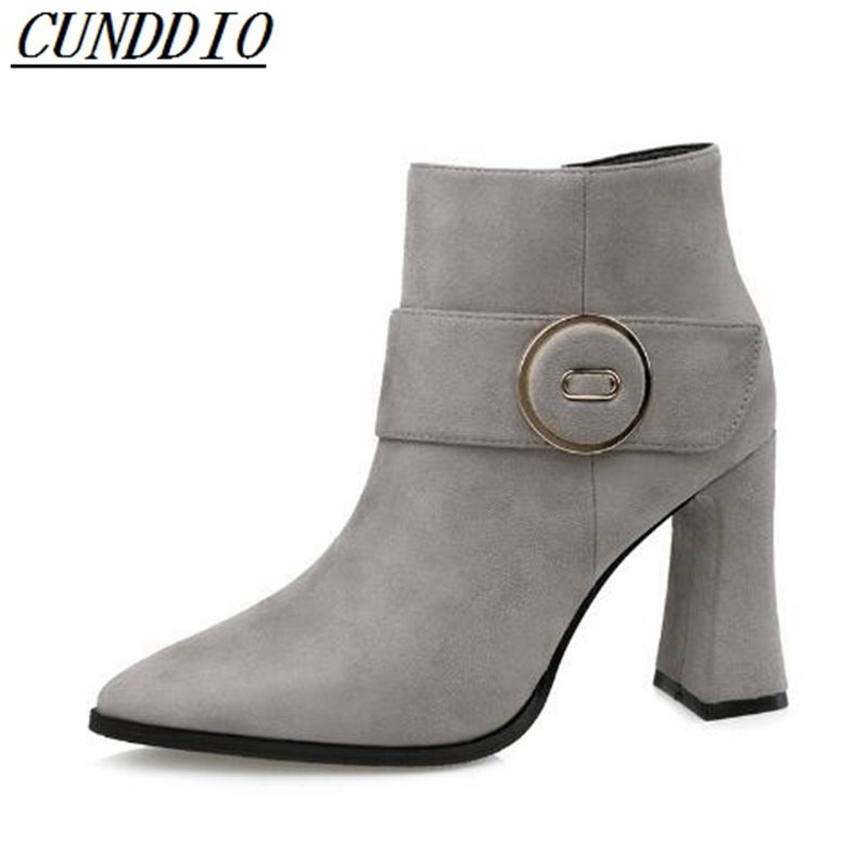 950-2 Europe and the United States sexy pointed suede boots rough with the side zipper women's shoes were thin wild Martin boots europe and the united states new handsome british wind pointed thick boots snake belt buckle especially exquisite single boot