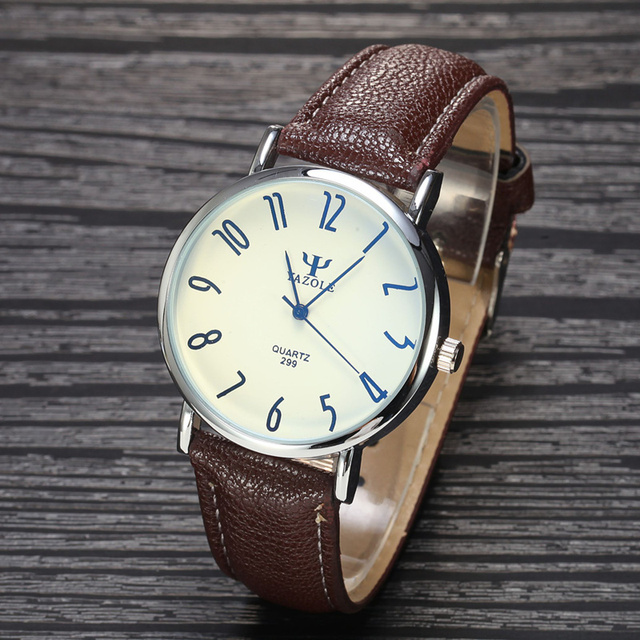 YAZOLE Brand Business Watch New Fashion 2015 Men PU Leather Quartz Watch Luxury Casual Wristwatch Relogio Masculino Clock