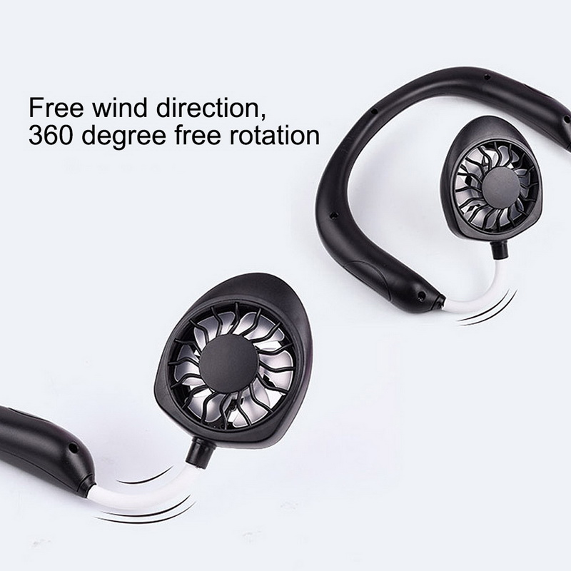 White Rechargeable Portable Headphone Design Wearable Neckband Fan,3 Level Air Flow,7 LED Lights,360 Degree Free Rotation Perfect for Sports Office and Outdoor Hand Free Mini USB Personal Fan