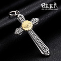 Beier new store 316L Stainless Steel Eye of Providence Cross pendant necklace high quality fashion chain unisex jewelry BP8-171