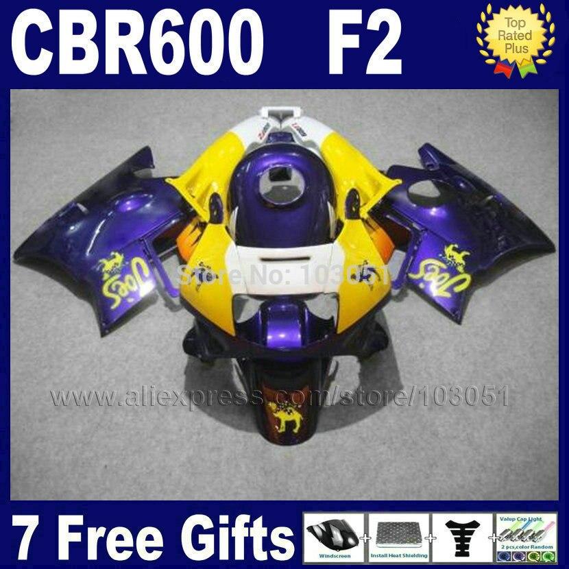Factory motor fairings kit for Honda blue yellow 1993 1994 CBR 600 F2 1991 1992 CBR600 F 91 92 93 94 CBR600 F2 fairing kits+ tan