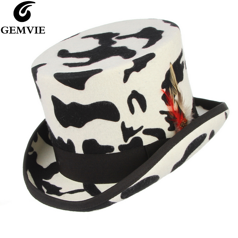 GEMVIE New 100% Wool Felt White Top Hat Handmade Feather Cylinder Hat For Women/Men Mad Hatter Costume Party Fedora Magic Hat