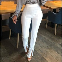 New Arrival Hot Sale High Waist Split Summer Pants Women 2019 Fashion Elastic Waist Sexy Pencil Pants Solid Casual Trousers