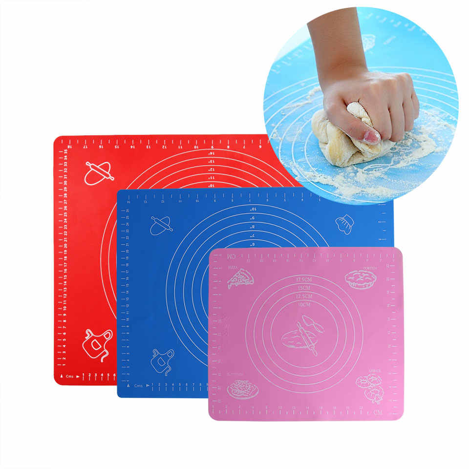 Mat For Rolling Dough Non-Stick Silicone Pastry Board Non-Slip High Temperature Resistance With Size Pattern Fondant Baking Tool