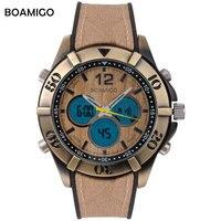 Homens esporte de exibição dupla relógios analógico digital LED relógio de quartzo antigo BOAMIGO marca de design Retro do vintage do punk relógios de borracha