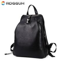 RDGGUH New Fashion Locks Backpack Men Leather School Backpack Travel Bag For College Simple Design Casual Daypacks Mochila Male