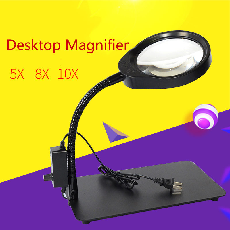 Adjustable desktop magnifying glass 5X 8X 10X, Multifunction table lamp Magnifier use for electronic maintenance jewelry desktop magnifier 3x 10x magnifying glass dimmable led light magnifier for metal