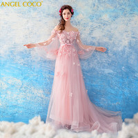 Sexy See Through Long Sleeve Handmade Rose Flower Evening Dresses for Pregnant Women Ruffles Long Party Arabic Robe De Soiree