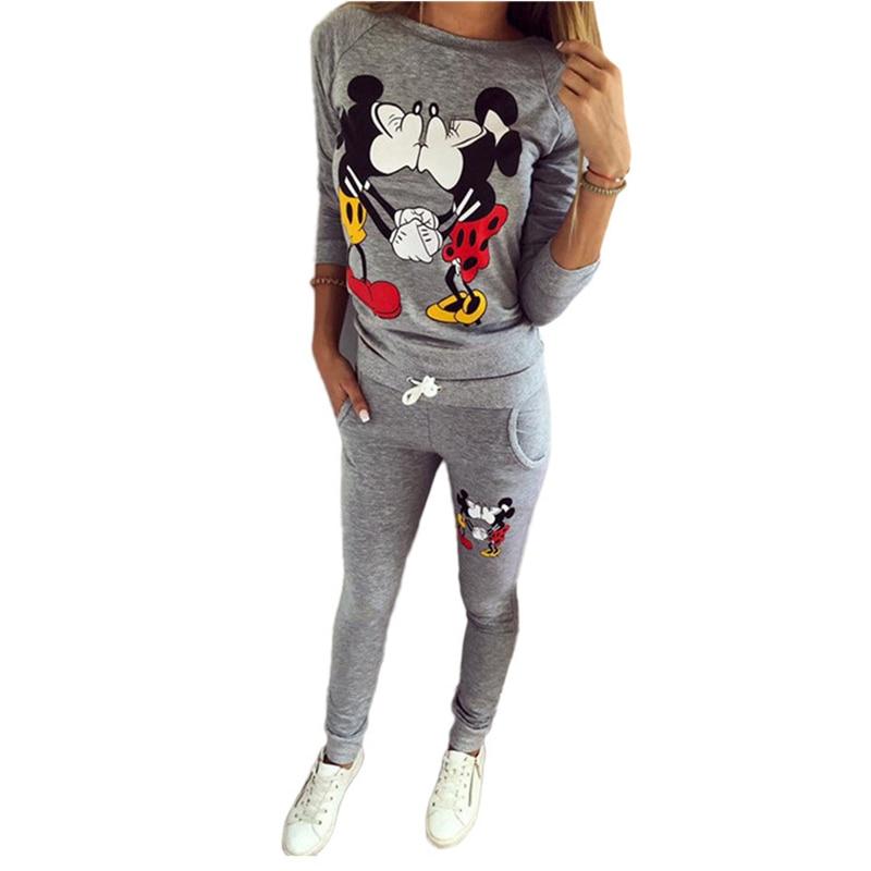Летний Камуфляжный женский спортивный костюм с Микки Маусом, забавная футболка, длинные штаны, комплект из 2 предметов, Kawaii Femme, спортивные костюмы, сексуальные женские топы z30