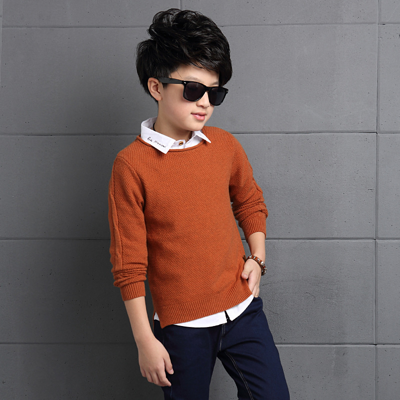 Cloth 5-14Y 2018 Teenager Boys Sweater Kids Pullover Wool Knitted Tops Long-sleeve Autum ...