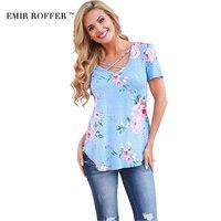 EMIR ROFFER 2017 Fashion Floral Print T Shirts Women Female Summer Top Casual Big Size Cross
