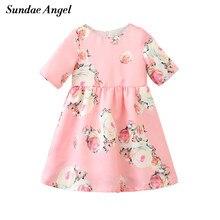 a61a5f2b0 Sundea Anjo Bebê Meninas Vestido 2018 Da Marca Vestidos de Princesa para  meninas de Flor de Impressão Em Torno Do Pescoço Crianç.