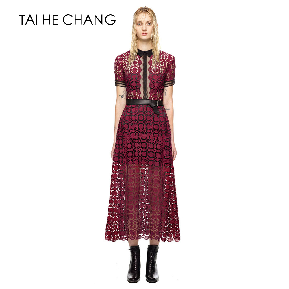 High-end custom  style elegant lace patchwork women long   fashion runway hollow out party dress casual dresses