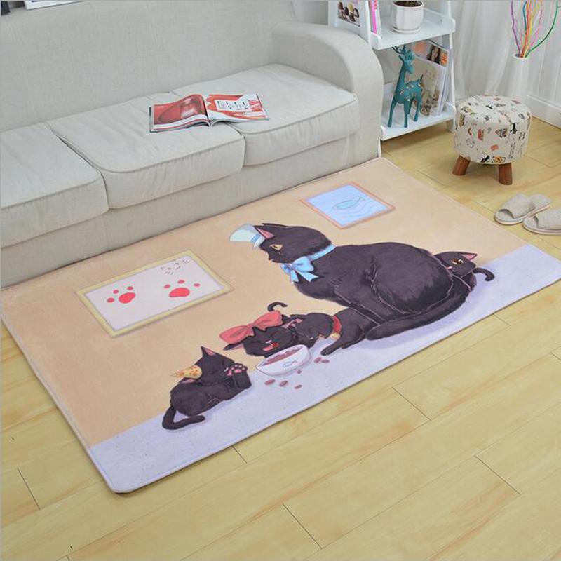 Cartoon Cute Cat Print Flanell Teppich Wohnzimmer Schlafzimmer Teppiche Saugfhige Rutschfeste Unterlage Badematte Matten Erker Streifen