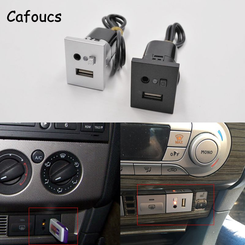 Cafoucs Car Accessories Aux Usb Interfaces Button With Mini USB Cable For Ford Focus Cd Dvd Players Usb Aux