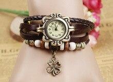 Лидер продаж Винтаж клевер кулон из коровьей кожи часы женские платье кварцевые наручные часы Relojes Mujer kow065