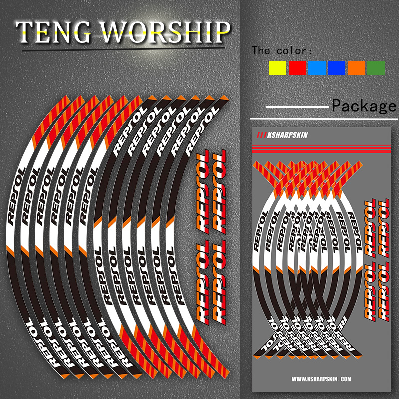 For HONDA REPSOL High Quality Motorcycle Thick Edge Outer Rim Strips Stickers Wheel Decals