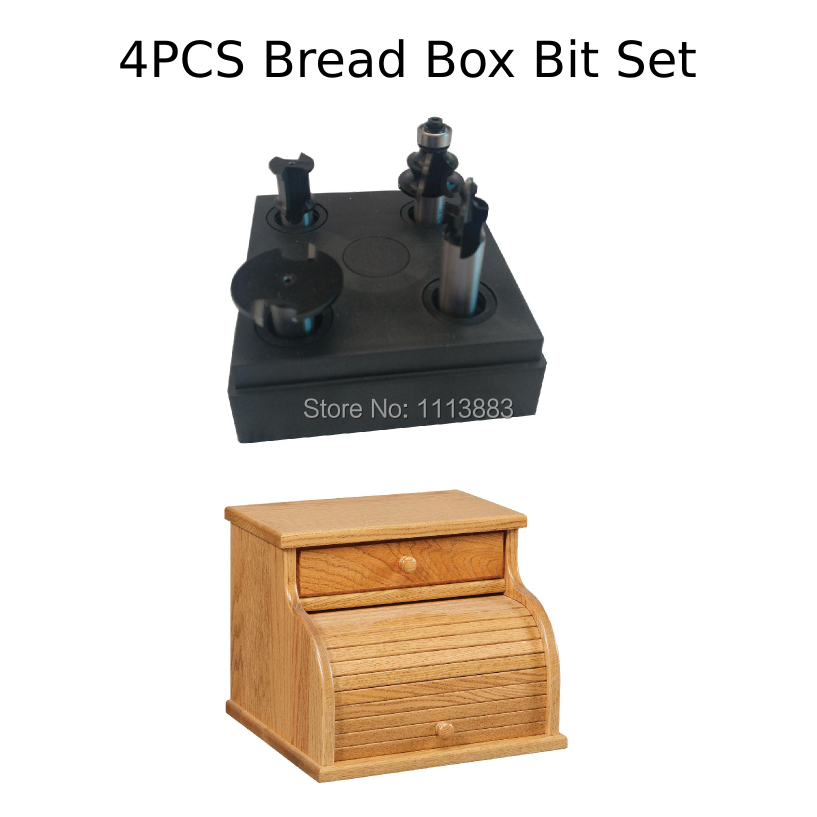 4PCS Bread Box Router Bit SET, Tambour Set, 1/2 Shank, for Wood Thickness
