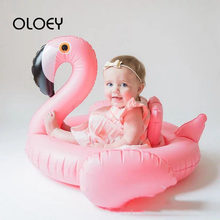 OLOEY Swimming Safe Seat Water Toys Infant Circle 0-2Y Baby Inflatable Flamingo Swan Pool Ring Floats with Sunshade Ride Safety(China)