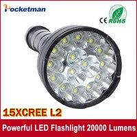 Powerful LED Flashlight 20000 Lumens Lanterna Led Linternas Torch 15 X CREE XM L2 LED Waterproof