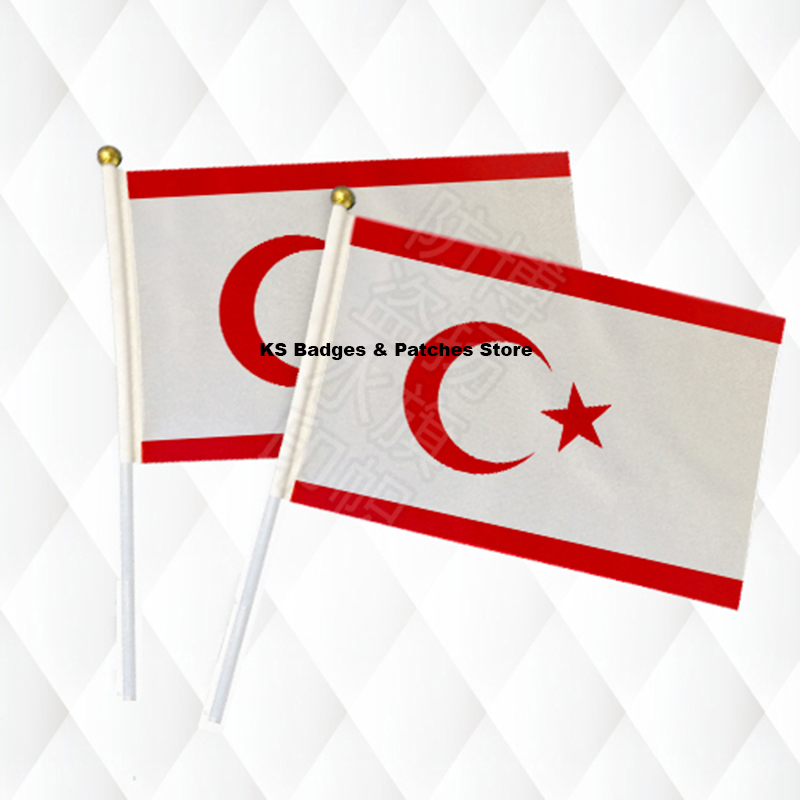 1002 Northern Cyprus Hand Held Stick Cloth Flags Safety Ball Top Hand National Flags Red Moon and Star 14*21CM 10pcs a lot