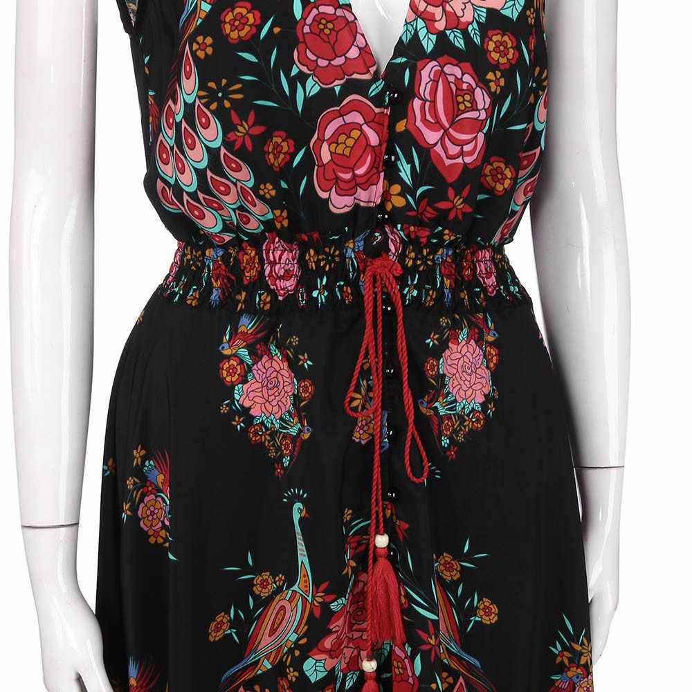 Новинка 2019, женское летнее платье с v-образным вырезом, Ретро стиль, длинное, макси, цветочный принт, Национальный шифон, вечерние платья, Пляжное платье, цветочный сарафан, Vestidos