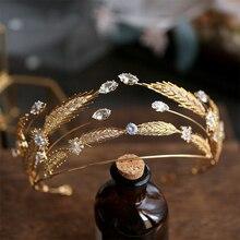 Bavoen barok Retro altın gelinler Hairbands tam zirkon gelinler Tiaras Hairbands temizle kristal düğün saç aksesuarları