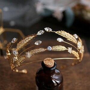 Image 1 - Ободок для волос Bavoen в стиле ретро, золотые ободки для волос с фианитом, тиары для невесты, прозрачные свадебные аксессуары для волос