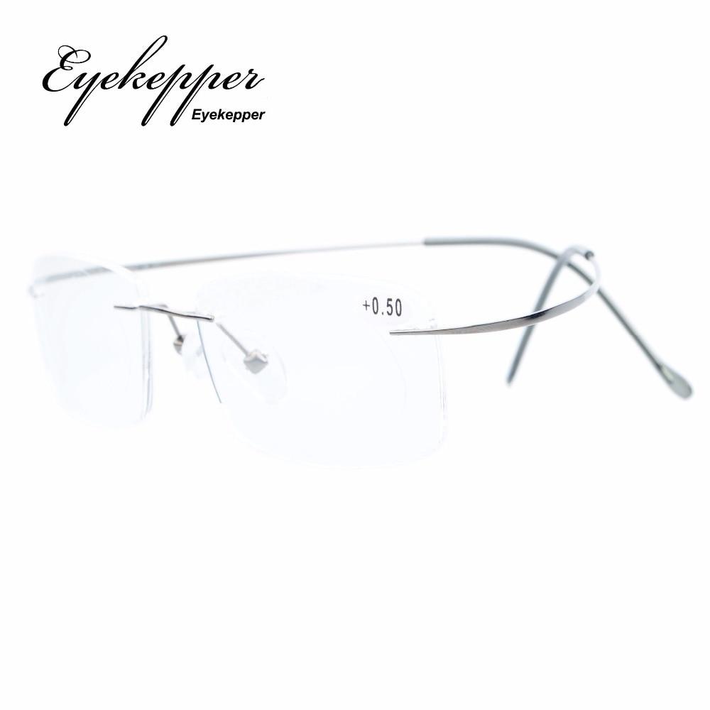 R1508 Eyekepper Titanium Rimless lasīšanas brilles Lasītāji Vīrieši Sievietes +0.00 --- + 3.00