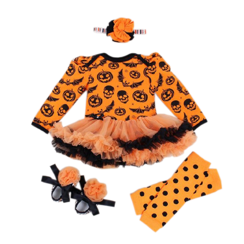 Baby Girl Halloween Costumes Lace Romper Dresses Skull Pumpkin Jumpsuit Infantil Girls Clothes Infant Clothing For Party Gifts newborn baby girl dresses 3pcs clothing sets suit infant romper jumpersuit bebe party wedding costumes vestidos