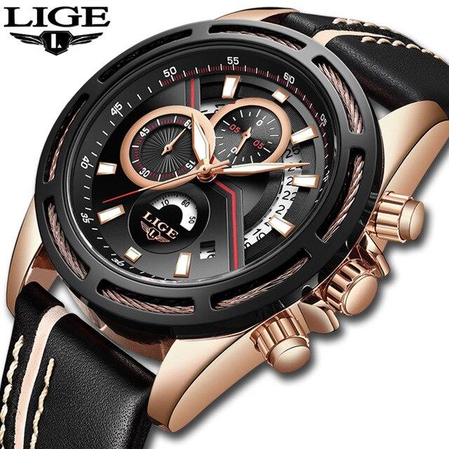 Relogio LIGE de montres homme Top Marque De Luxe Hommes Militaire montre de sport décontracté En Cuir Étanche montres à quartz Relogio Masculino