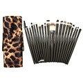 20 Unids Maquillaje Negro Pinceles de Sombra de Ojos En Polvo Cepillo Makup Set con Cuero de LA PU Titular Caja de Leopardo Negro