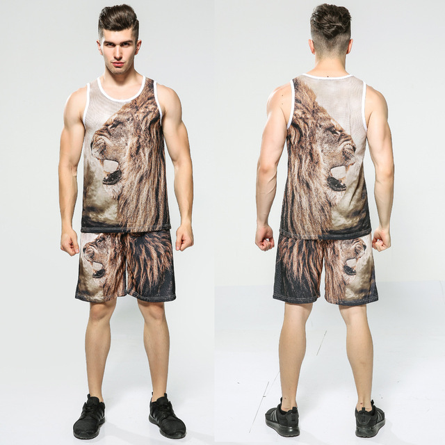 c836b9777b6 2017 Summer New Arrival Mesh Tank Top Tracksuit Sets 3D Animal Lion Print  Tank and Shorts Set Men Fitness Sleeveless T shirt Top