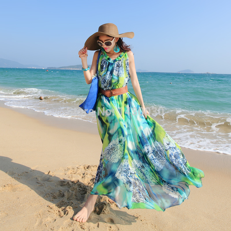 2017 New Style Women Beach Cover Up Wear Dress Vacation Dresses With Belt Print Party Holiday Long Plus Size In From S