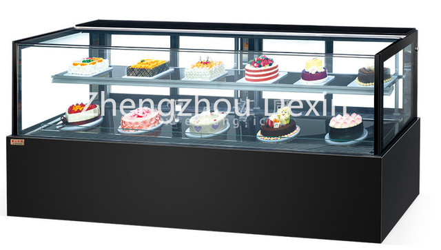 2 Layer Black Bakery Cake Display Refrigerator Refrigerated Case Chiller And Cooler