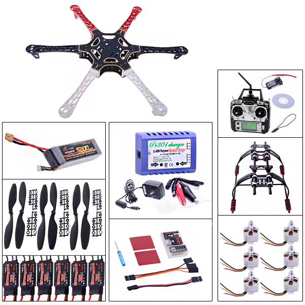 Six Axis Aircraft suit F550 Frame Kit+ MT2212 motor + + QQ flight control + 30A Simonk ESC+ 3 s battery charger naza m v2 flight control