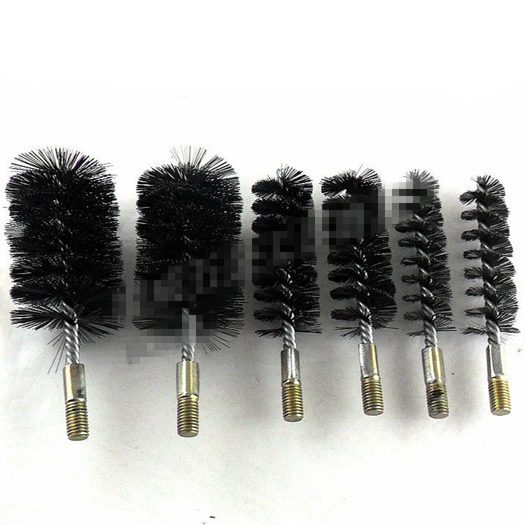 1Pc 55/60/65/70/75/80/85/90/100mm Diameter Stainless Steel Round Wire Tube Pipe Cleaning Brush Bristles 6mm 12mm Thread