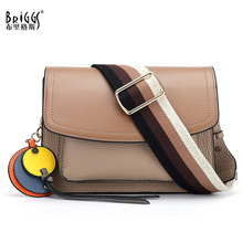 BRIGGS Fashion Wide strap Flap Bags Genuine Leather Women Shoulder Bag Small Crossbody Bags High Quality Women Messenger Bag emini house round lock flap bags split leather women shoulder bag wide strap luxury brand crossbody bags for women messenger bag