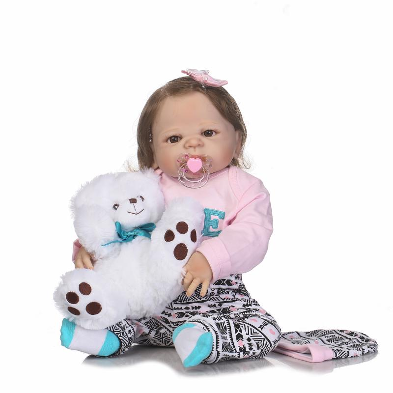 Realistic Reborn Baby Dolls Girl 23 Inch Full Body Silicone Vinyl Lifelike Baby Alive Dolls with Free Bear Playmates For Kids 23 russian silicone reborn baby girl full body vinyl dolls touch real baby dolls lifelike real hair new 2017 kids playmates