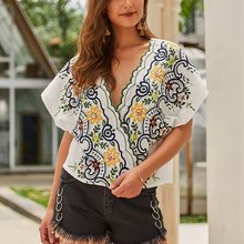 Summer Floral Embroidery Blouse Women Boho Sexy V Neck Travel Fashion Beach Tops Female Loose Large Size Chic White Blouse Shirt